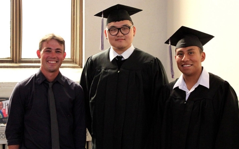 Aaron Graff and two students from his GED class