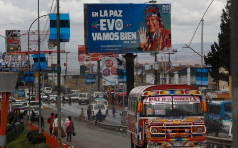 Campaign billboards in El Alto, Bolivia, for President Evo Morales, who is running for re-election in the vote on Oct. 12.