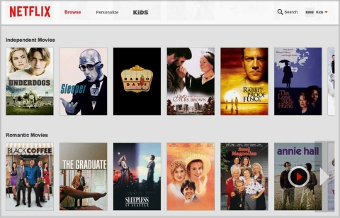 A screen shot of a Netflix queue.