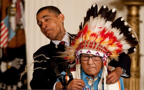 Obama, Medicine Crow, war chief