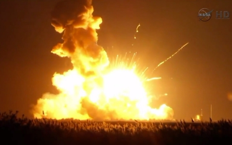 Thumbnail image for NASA's unmanned Antares rocket explodes on launch