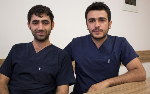 Veysi and Ismail are working extra hours at the Ursu private hospital in Urfa to care for the influx of patients from Kobane.
