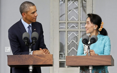 Thumbnail image for Obama: Barring Suu Kyi from presidential bid 'doesn't make much sense'