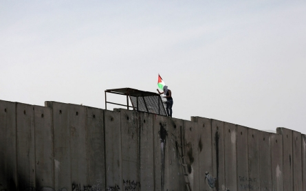 Palestinians scale Israeli separation wall in solidarity with Jerusalem