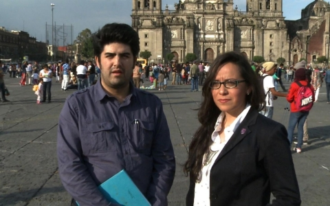 Ernesto Schwartz and Arely Cruz on the Zocalo in Mexico City