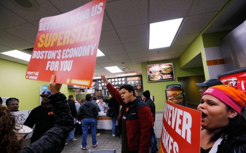 Thumbnail image for Workers hit the streets across US in growing minimum wage fight