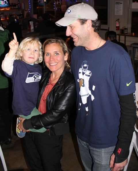 Seahawks fans Xavier, Stephanie and Jon Collier.