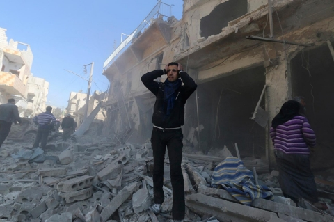 Syria in destroyed building