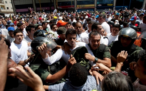 Thumbnail image for Venezuela opposition leader surrenders amid mass protests