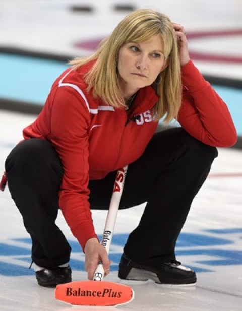 Erika Brown of the U.S. curling team reacts during the team's loss to Canada.