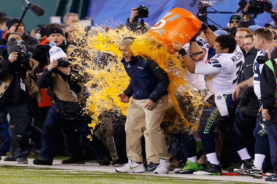 Pete Carroll Head Coach Of The Seahawks Drenched In Gatorade Celebration His Team Beating Denver Broncos At Super Bowl XLVIII