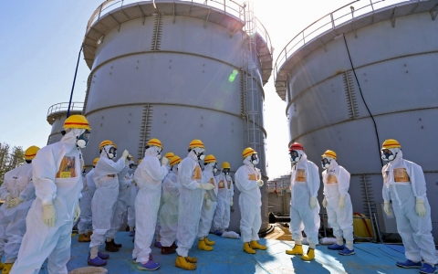 Highly contaminated water leaked from a large storage tank is seen at the H6 area of Tokyo Electric Power Company's tsunami-crippled Fukushima nuclear power plant