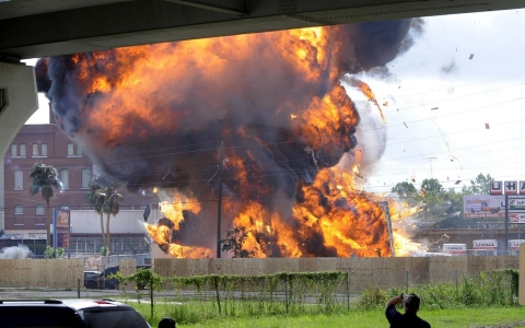 "A production crew located in Shreveport, Louisiana films an explosion for ""Battle Los Angeles."""