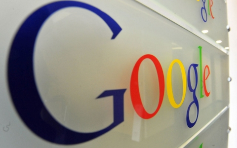The Google logo is seen on a wall at the entrance of the Google offices in Brussels, Belgium on Feb. 5, 2014.