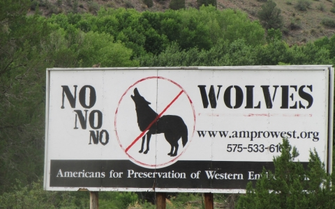 One of the anti-wolf signs posted around western New Mexico.