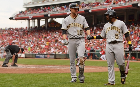 Josh Harrison (5) with teammate Jordy Mercer during a game in September.