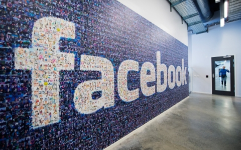 A Facebook logo is pictured in the company's Data Center in Swedish Lapland.