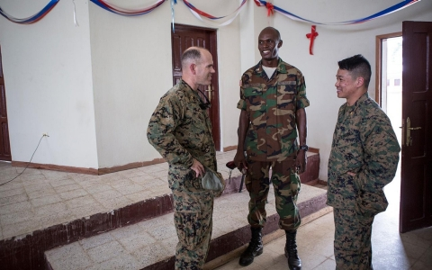 American military trainers hang around with Liberian military officers at Todee, a base a few hours outside of the capital Monrovia. After Liberia's brutal civil war, the army was disbanded and rebuilt from scratch under American leadership.