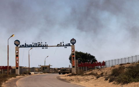 The entrance to Zueitina oil terminal about 75 miles west of Benghazi, Libya on July 18, 2013.