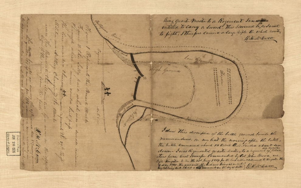 Sketch map of the Battle of Horseshoe Bend of Tallapoosa River, 27th March 1814