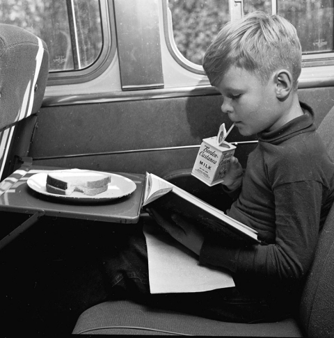 Boy reading on train