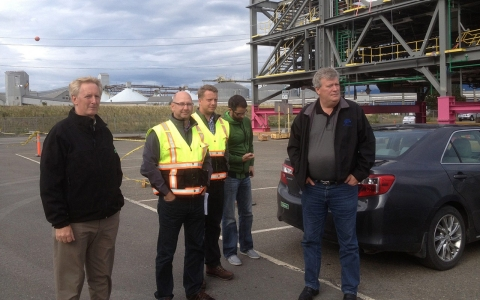 Rich Coleman (right), B.C. Minister for Natural Gas Development, joins industry representatives for a tour of an LNG facility in the town of Kitimat.