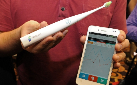 The connected Kolibree toothbrush includes a sensor which detects how much tartar is being removed in a brushing. It also records brushing activity so users can maintain a consistent cleaning each time.