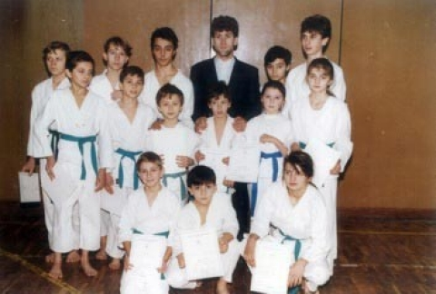 Trebencevic as a boy with his karate class.
