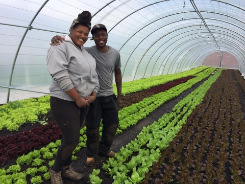 Douglas Wheeler and Kahleela Howell in one of the Sandtown hoop houses