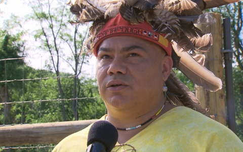 Ramapough Turtle Clan Chief Vincent Mann sings at the opening of the Ramapo Well Field Medicine Garden.