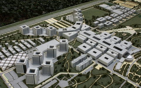 A model of the university's expansion plans in the capital, Astana, which is itself a new creation.