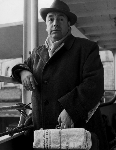 The Chilean poet Pablo NERUDA, who was then residing in Italy, leaving for Capri on January 18, 1952.