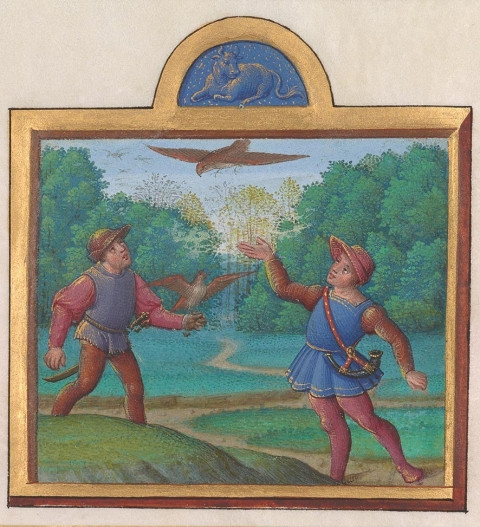 Month of April from a book illustrating the months of the year Illuminated by the Master of Claude de France Album of Calendar