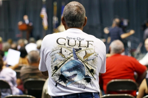 David Griffin, a self employed fisherman, questions Ken Feinberg, Administrator of the Gulf Coast Claims Facility.