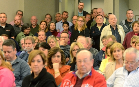 Several hundred township residents packed the West Goshen Township Zoning Hearing Board meeting Thursday night, April 3, 2014.