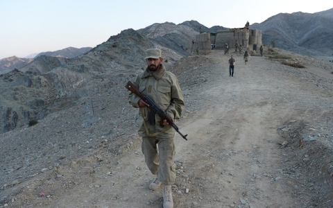 December 18, 2012, Afghan Local Police (ALP) personnel patrol at their base in Goshta district of Nangarhar province.