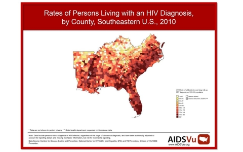 HIV by county map