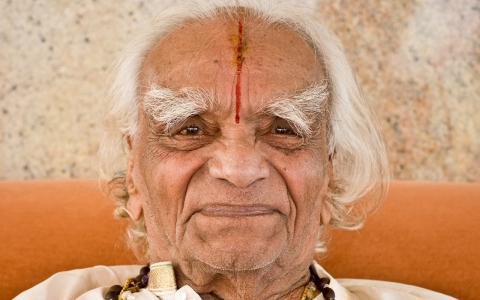 BKS Iyengar seen during his 94th birthday celebration in November 2012 in Bellur, India.