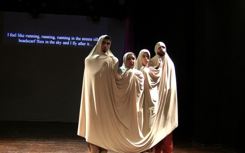 Excerpt from Ashtar Theatre's The Gaza Mono-Logues featuring Émile André, Rana Burqan, Jenin Mer'I and Uday Ju'beh, directed by Mohammad Eid.