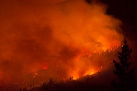 The El Portal Fire at 5% containment burns on the western edge on July 28, 2014 in Yosemite National Park, California. More than 500 fire personnel have been battling the fire which has spread across 2,600 acres and threatening nearby homes and roads.