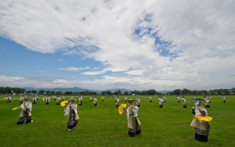 Local dancers perform a traditional dance during the Soma-Nomaoi festival in Minami Soma city, located 30 kilometers from the destroyed nuclear power plants in Fukushima prefecture, Japan, 27 July 2014.
