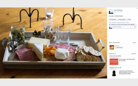 An image of a cheeseboard from a Facebook page.