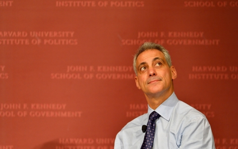 Chicago Mayor and Former White House Chief of Staff Rahm Emanuel speaks at Harvard University's Institute of Politics John F. Kennedy Jr. Forum.