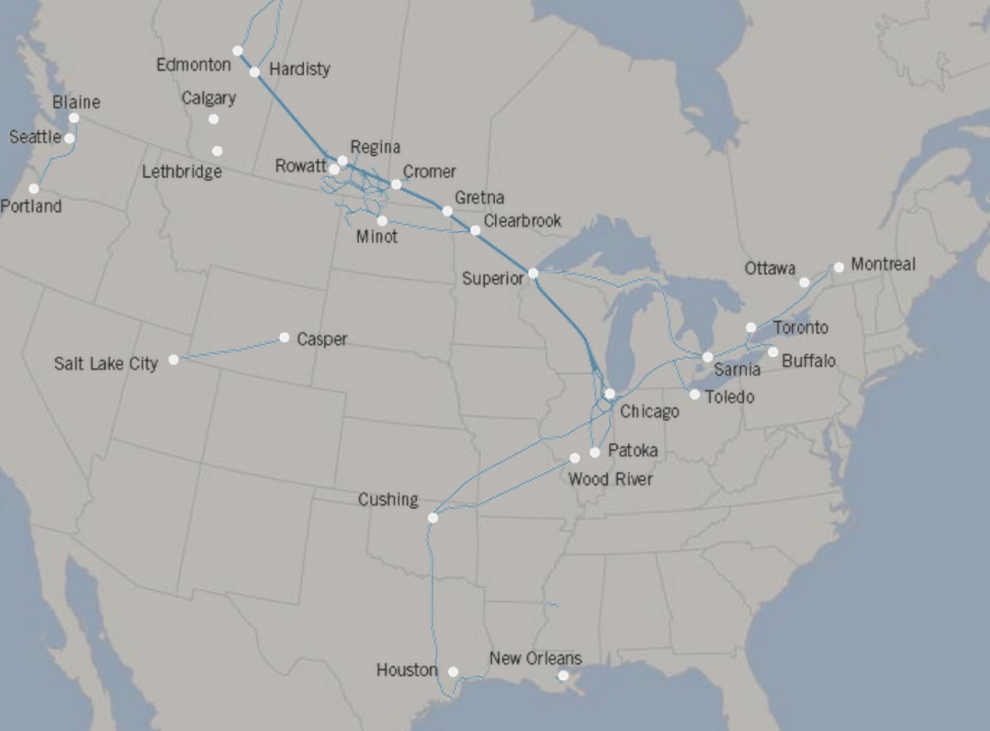 A Map Shows Current Enbridge Pipelines Throughout The U S And Canada