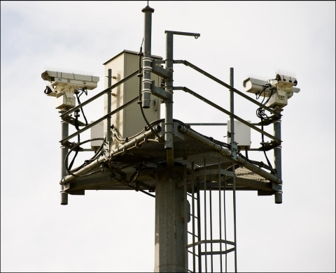 Remote-controlled cameras on towers monitor the U.S.-Mexico border in Chula Vista, Calif. Plans are underway for similar towers to be constructed across the Arizona border.