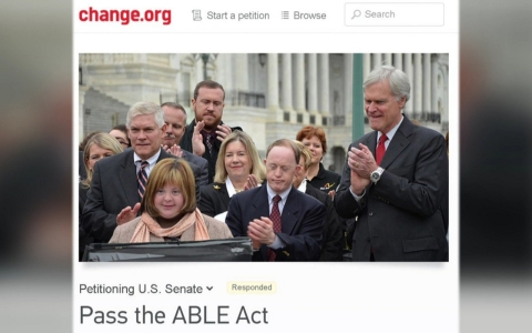 Wolff's online petition urging support for the ABLE Act has garnered more than 261,000 signatures.