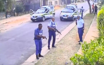 Video shows S. African police fatally shooting suspect on ground