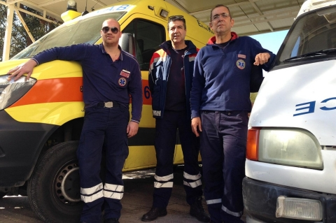 (L to R) Paramedics Leandros Giakoumis, Dimitrios Begiannis and Kostas Soropos participated in a protest on Nov. 2 about the increasing strains on their staff of 32.