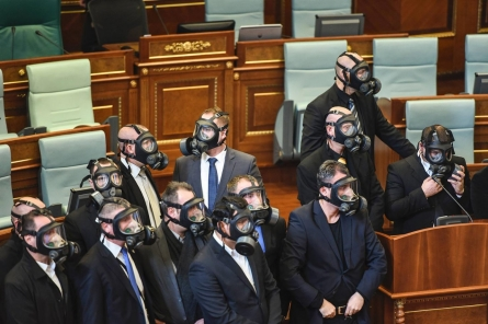Kosovo opposition releases tear gas in parliament