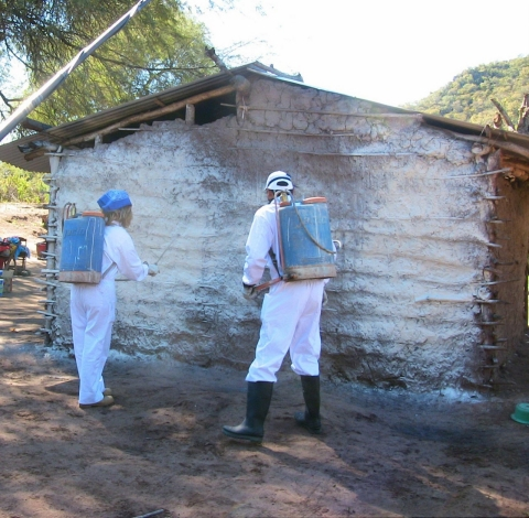 Mateo and Inesfly engineer Franz Espejo paint a house in Urundaiti in 2010.